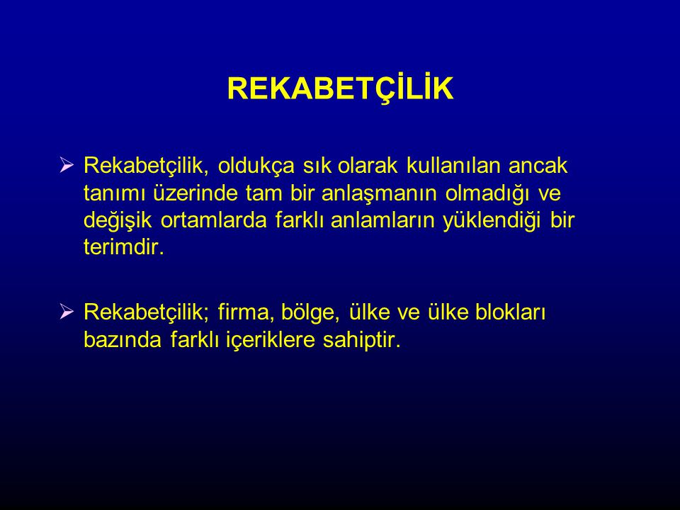 SEKTÖRDE REKABET ORTAMINI BELİRLEYEN EN ÖNEMLİ ÜÇ UNSUR VE FİRMALARIN RAKİPLERİNE GÖRE KONUMU Kaynak: Ulusoy, G., Çetindamar, D., Bulut, Ç., Yeğenoğlu H., İmalatta Yenilik 2004/2005, TUSIAD-Sabancı Üniversitesi Rekabet Forumu, Istanbul, 2005.
