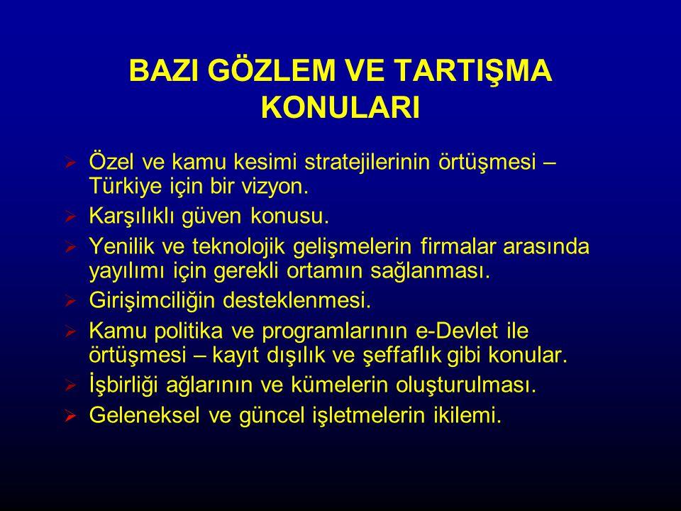 BAZI GÖZLEM VE TARTIŞMA KONULARI  Özel ve kamu kesimi stratejilerinin örtüşmesi – Türkiye için bir vizyon.