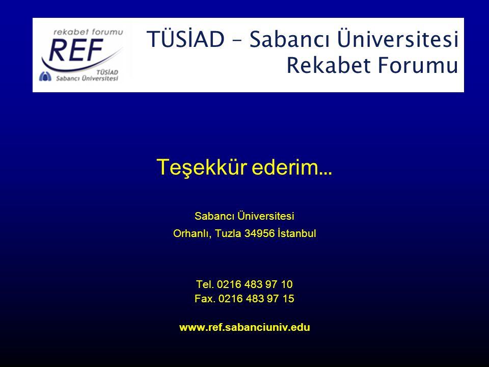 TÜSİAD-Sabancı Üniversitesi Rekabet Forumu Teşekkür ederim...