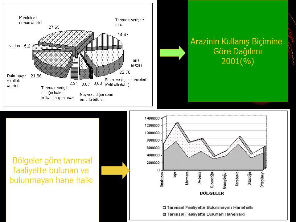 Bölgeler göre tarımsal faaliyette bulunan ve bulunmayan hane halkı Arazinin Kullanış Biçimine Göre Dağılımı 2001(%)