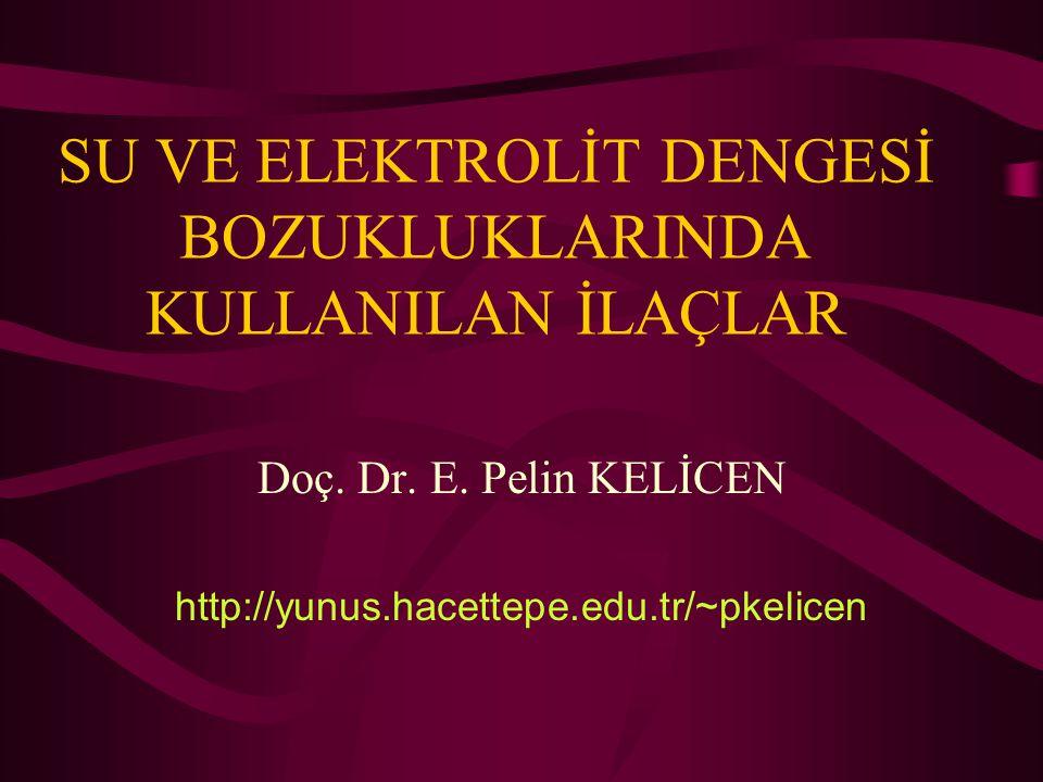 SU VE ELEKTROLİT DENGESİ BOZUKLUKLARINDA KULLANILAN İLAÇLAR Doç. Dr. E. Pelin KELİCEN http://yunus.hacettepe.edu.tr/~pkelicen