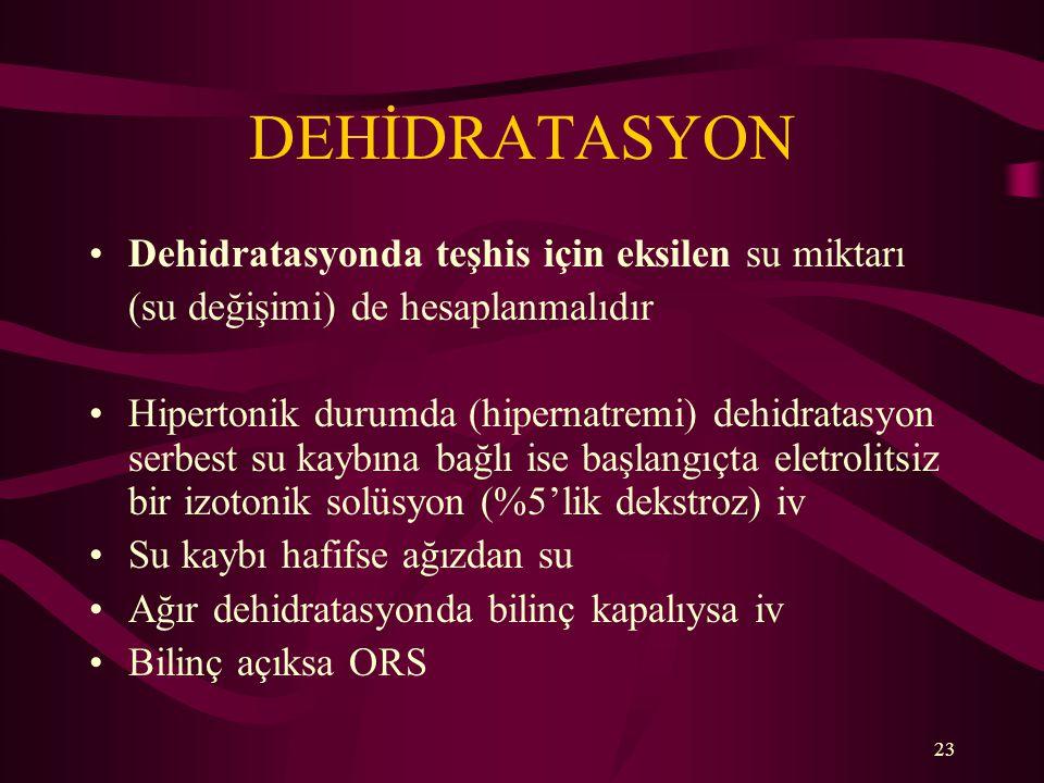 23 DEHİDRATASYON Dehidratasyonda teşhis için eksilen su miktarı (su değişimi) de hesaplanmalıdır Hipertonik durumda (hipernatremi) dehidratasyon serbe