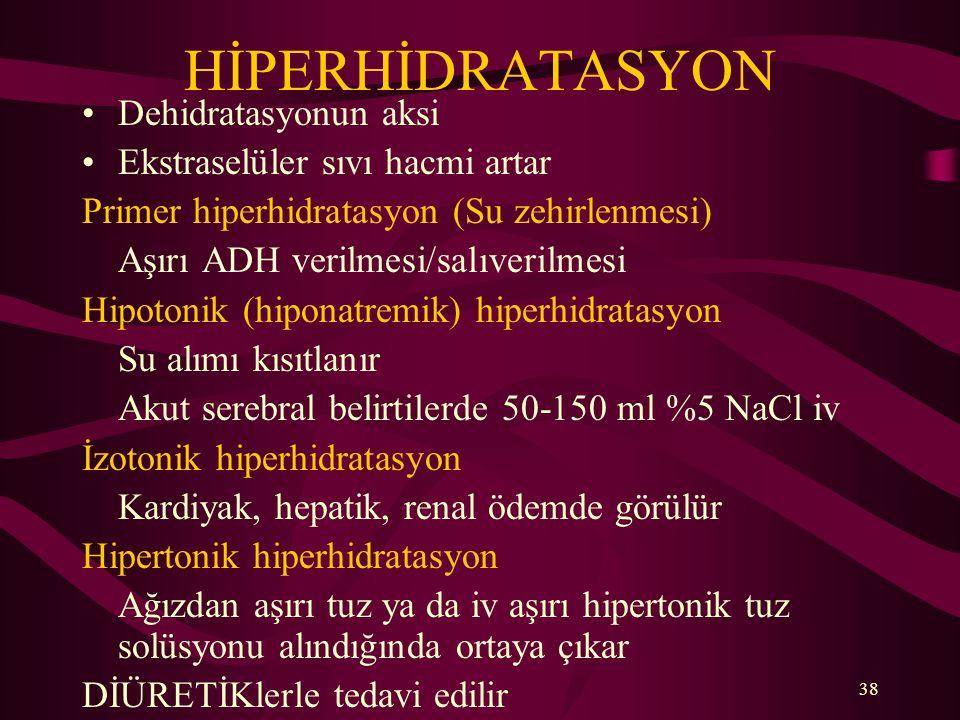 38 HİPERHİDRATASYON Dehidratasyonun aksi Ekstraselüler sıvı hacmi artar Primer hiperhidratasyon (Su zehirlenmesi) Aşırı ADH verilmesi/salıverilmesi Hi