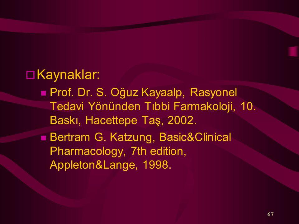 67  Kaynaklar: Prof. Dr. S. Oğuz Kayaalp, Rasyonel Tedavi Yönünden Tıbbi Farmakoloji, 10. Baskı, Hacettepe Taş, 2002. Bertram G. Katzung, Basic&Clini