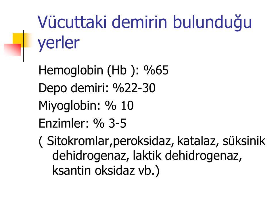 Vücuttaki demirin bulunduğu yerler Hemoglobin (Hb ): %65 Depo demiri: %22-30 Miyoglobin: % 10 Enzimler: % 3-5 ( Sitokromlar,peroksidaz, katalaz, süksinik dehidrogenaz, laktik dehidrogenaz, ksantin oksidaz vb.)