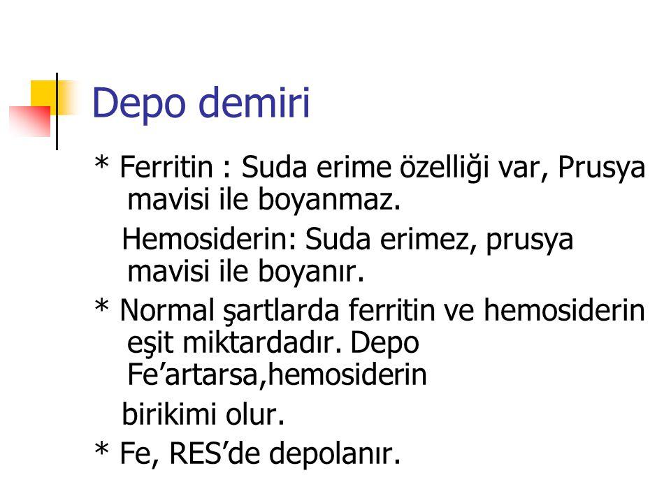 Depo demiri * Ferritin : Suda erime özelliği var, Prusya mavisi ile boyanmaz. Hemosiderin: Suda erimez, prusya mavisi ile boyanır. * Normal şartlarda