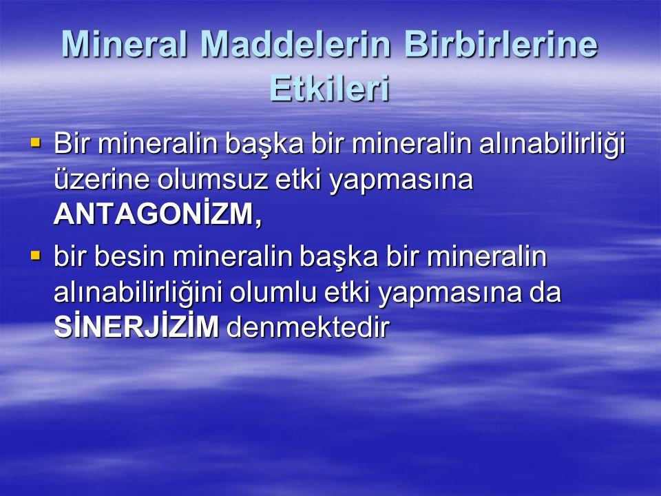 Mineral Maddelerin Birbirlerine Etkileri  Bir mineralin başka bir mineralin alınabilirliği üzerine olumsuz etki yapmasına ANTAGONİZM,  bir besin min