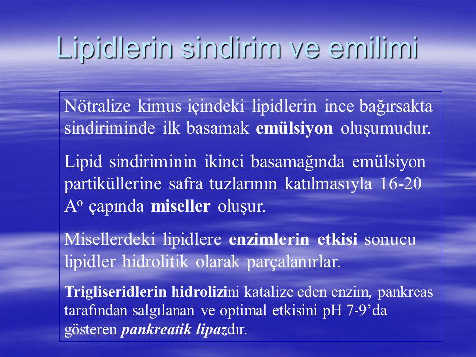 Lipidlerin sindirim ve emilimi Nötralize kimus içindeki lipidlerin ince bağırsakta sindiriminde ilk basamak emülsiyon oluşumudur. Lipid sindiriminin i