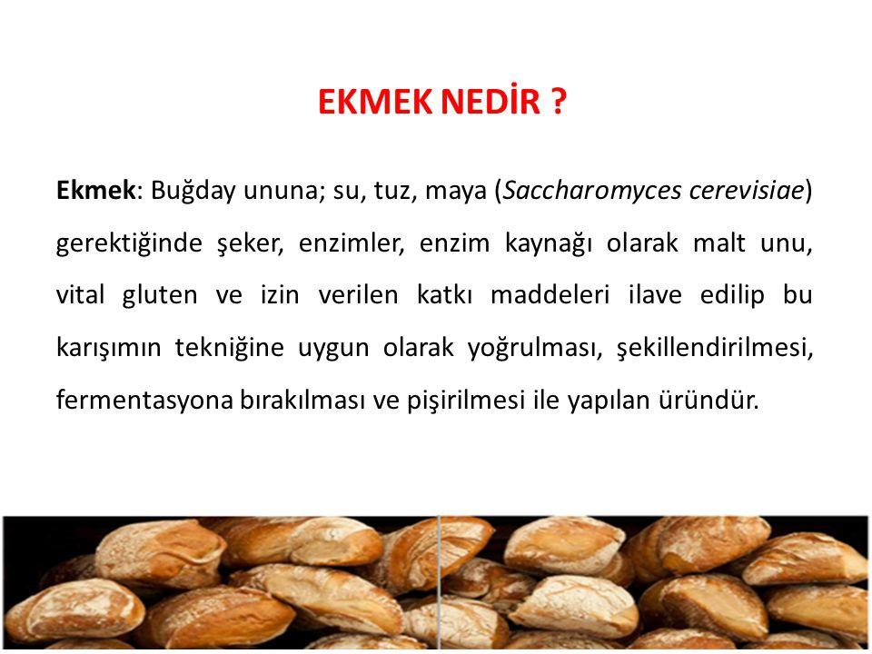 EKMEK NEDİR ? Ekmek: Buğday ununa; su, tuz, maya (Saccharomyces cerevisiae) gerektiğinde şeker, enzimler, enzim kaynağı olarak malt unu, vital gluten