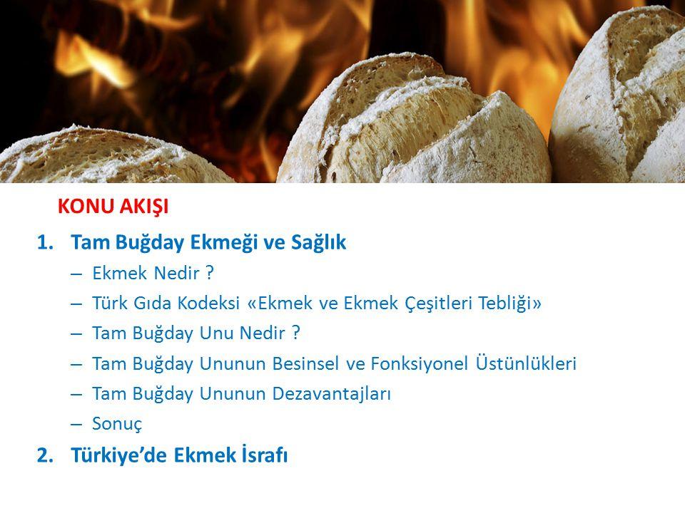 KONU AKIŞI 1.Tam Buğday Ekmeği ve Sağlık – Ekmek Nedir ? – Türk Gıda Kodeksi «Ekmek ve Ekmek Çeşitleri Tebliği» – Tam Buğday Unu Nedir ? – Tam Buğday