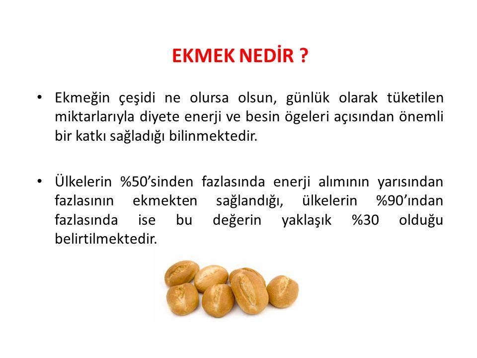 Besinsel Karşılaştırma (g/100 g) Normal Ekmek Tam Buğday Ekmeği Kepekli Ekmek Enerji (kcal) 283,3274,7 259,6 Protein (g) 8,79,9 8,5 Karbonhidrat (g) 58,554,7 52,2 Yağ (g) 1,51,7 1,2 Lif (g) 0,310,9 10,2 Mineral Madde (g) 1,82,4 2,5 Su (g) 29,731,4 33,6