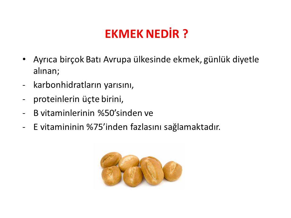 EKMEK NEDİR ? Ayrıca birçok Batı Avrupa ülkesinde ekmek, günlük diyetle alınan; -karbonhidratların yarısını, -proteinlerin üçte birini, -B vitaminleri