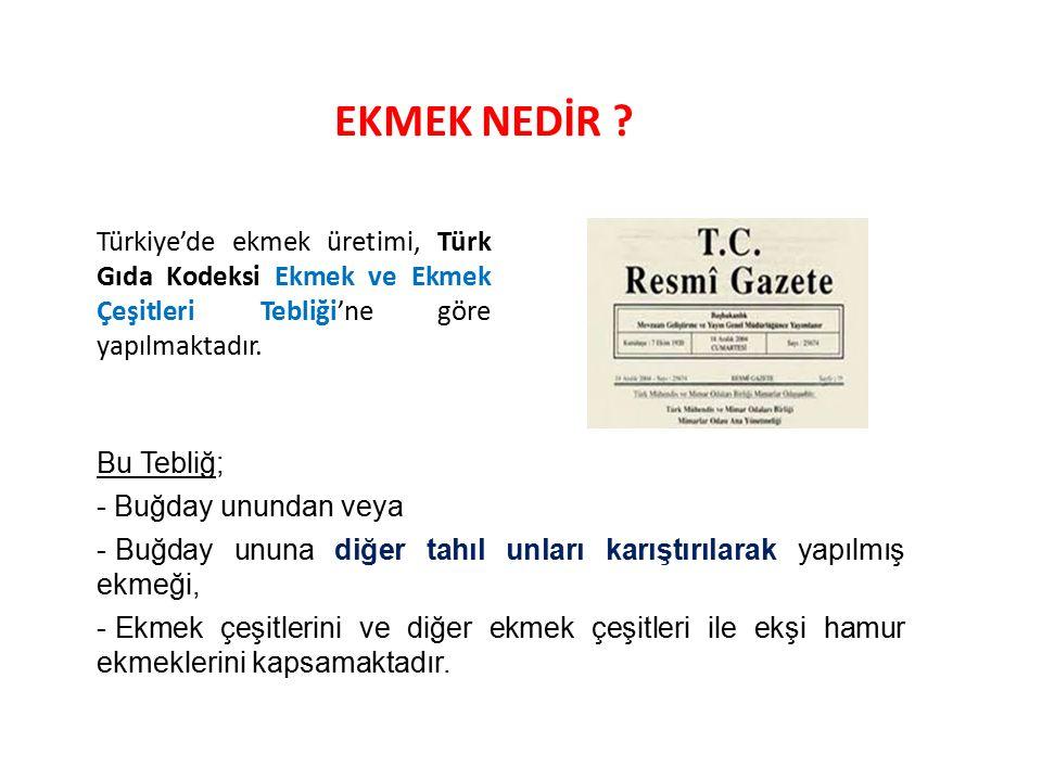 EKMEK NEDİR ? Türkiye'de ekmek üretimi, Türk Gıda Kodeksi Ekmek ve Ekmek Çeşitleri Tebliği'ne göre yapılmaktadır. Bu Tebliğ; - Buğday unundan veya - B