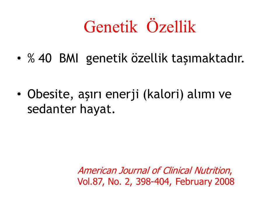 Genetik Özellik % 40 BMI genetik özellik taşımaktadır. Obesite, aşırı enerji (kalori) alımı ve sedanter hayat. American Journal of Clinical Nutrition,