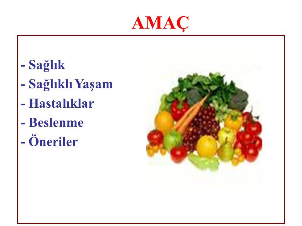 - Sağlık - Sağlıklı Yaşam - Hastalıklar - Beslenme - Öneriler AMAÇ
