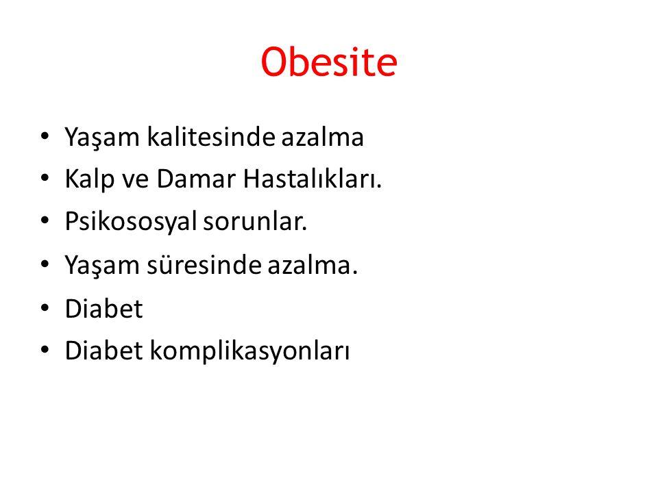 Obesite Yaşam kalitesinde azalma Kalp ve Damar Hastalıkları. Psikososyal sorunlar. Yaşam süresinde azalma. Diabet Diabet komplikasyonları