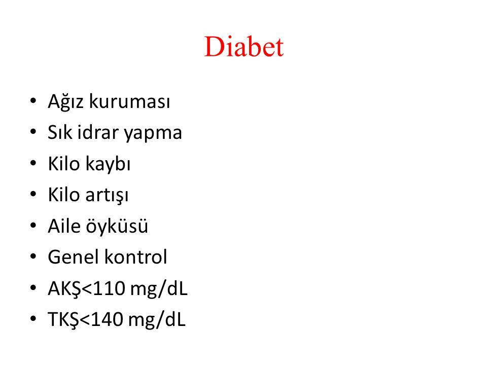 Diabet Ağız kuruması Sık idrar yapma Kilo kaybı Kilo artışı Aile öyküsü Genel kontrol AKŞ<110 mg/dL TKŞ<140 mg/dL