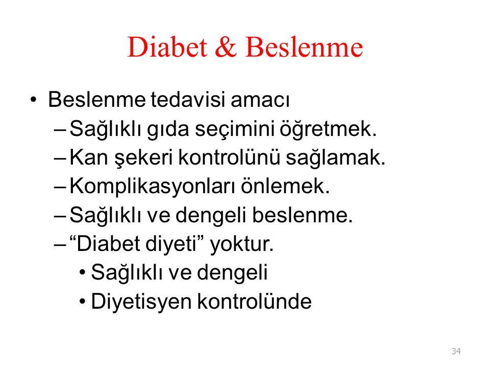 Diabet & Beslenme Beslenme tedavisi amacı –Sağlıklı gıda seçimini öğretmek. –Kan şekeri kontrolünü sağlamak. –Komplikasyonları önlemek. –Sağlıklı ve d