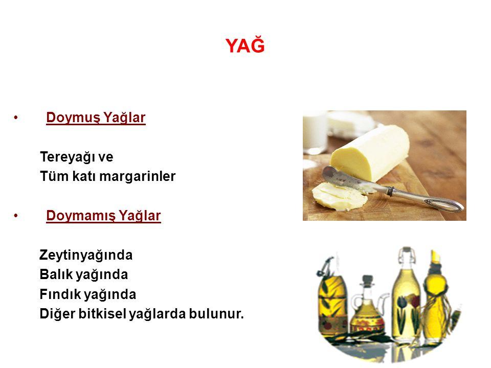 YAĞ Doymuş Yağlar Tereyağı ve Tüm katı margarinler Doymamış Yağlar Zeytinyağında Balık yağında Fındık yağında Diğer bitkisel yağlarda bulunur.