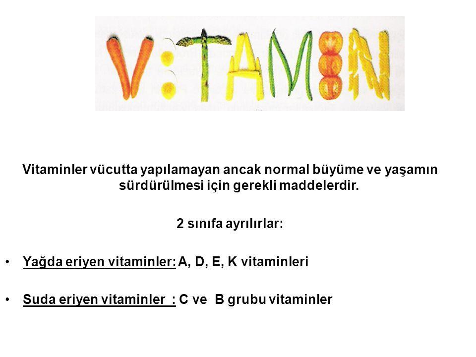 VİTAMİNLER Vitaminler vücutta yapılamayan ancak normal büyüme ve yaşamın sürdürülmesi için gerekli maddelerdir. 2 sınıfa ayrılırlar: Yağda eriyen vita