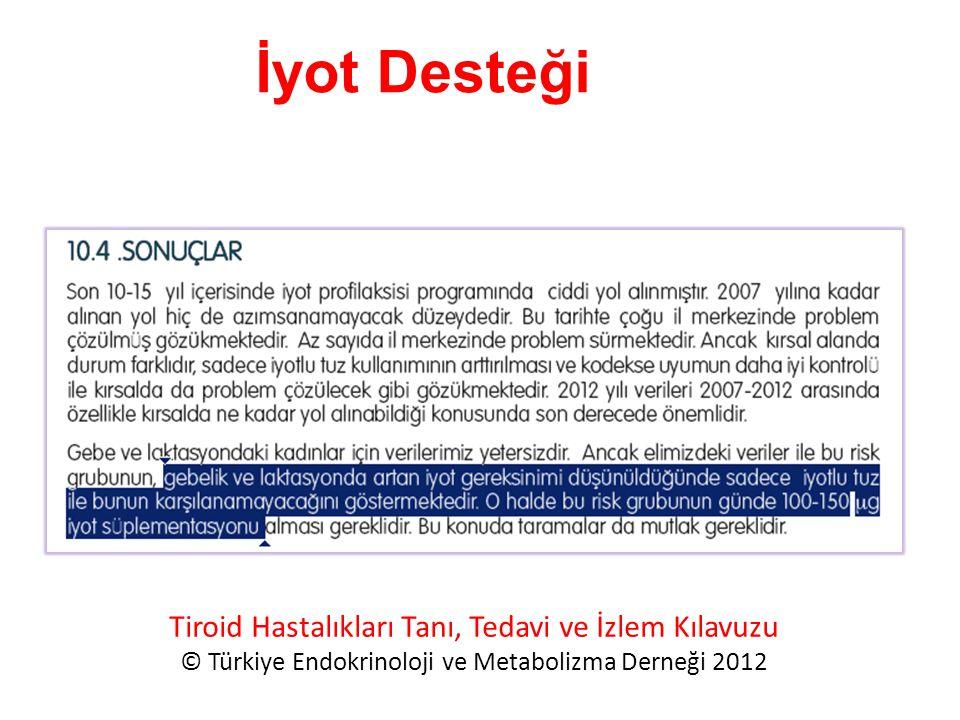 Tiroid Hastalıkları Tanı, Tedavi ve İzlem Kılavuzu © Türkiye Endokrinoloji ve Metabolizma Derneği 2012 İyot Desteği