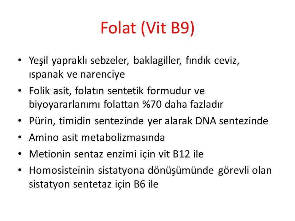 Folat (Vit B9) Yeşil yapraklı sebzeler, baklagiller, fındık ceviz, ıspanak ve narenciye Folik asit, folatın sentetik formudur ve biyoyararlanımı folattan %70 daha fazladır Pürin, timidin sentezinde yer alarak DNA sentezinde Amino asit metabolizmasında Metionin sentaz enzimi için vit B12 ile Homosisteinin sistatyona dönüşümünde görevli olan sistatyon sentetaz için B6 ile