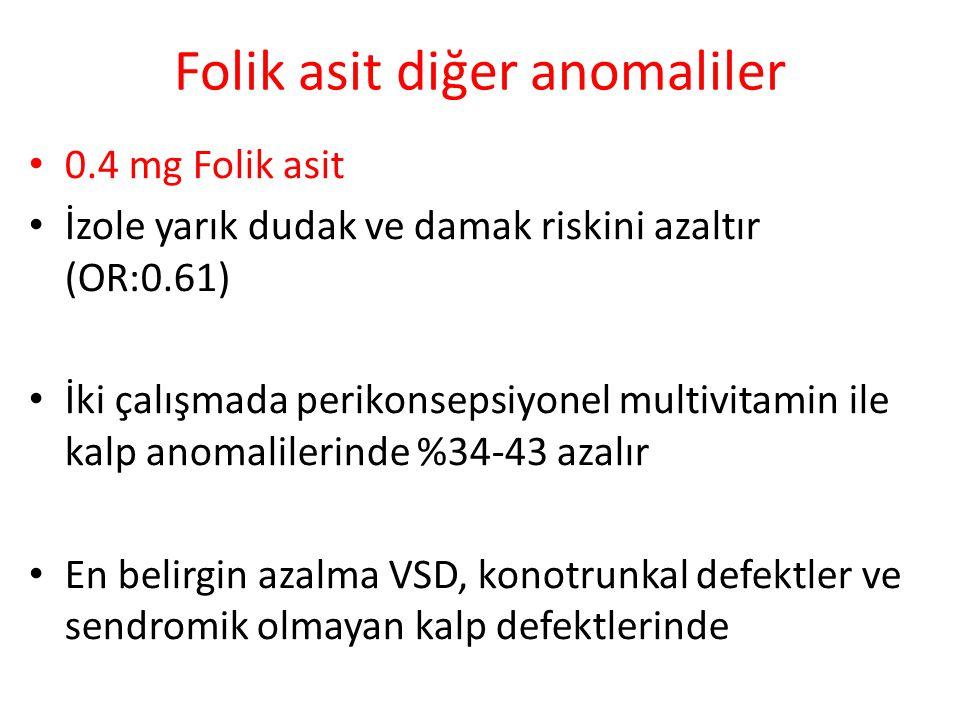Folik asit diğer anomaliler 0.4 mg Folik asit İzole yarık dudak ve damak riskini azaltır (OR:0.61) İki çalışmada perikonsepsiyonel multivitamin ile kalp anomalilerinde %34-43 azalır En belirgin azalma VSD, konotrunkal defektler ve sendromik olmayan kalp defektlerinde