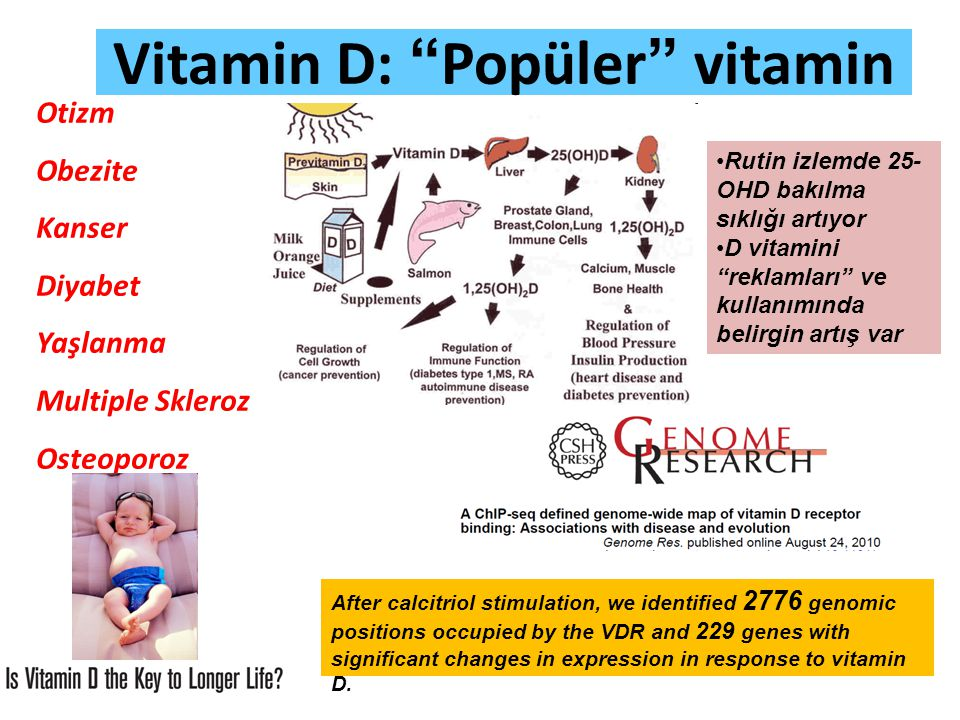 "Vitamin D: ""Popüler"" vitamin Otizm Obezite Kanser Diyabet Yaşlanma Multiple Skleroz Osteoporoz After calcitriol stimulation, we identified 2776 genomi"