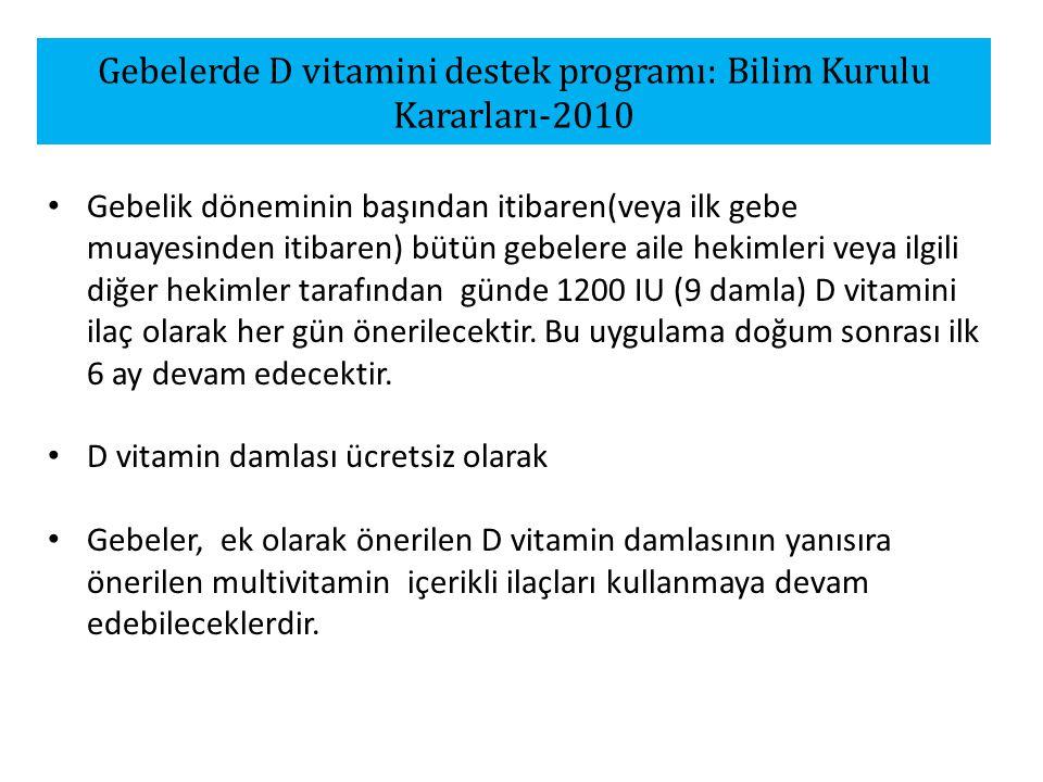 Gebelerde D vitamini destek programı: Bilim Kurulu Kararları-2010 Gebelik döneminin başından itibaren(veya ilk gebe muayesinden itibaren) bütün gebelere aile hekimleri veya ilgili diğer hekimler tarafından günde 1200 IU (9 damla) D vitamini ilaç olarak her gün önerilecektir.