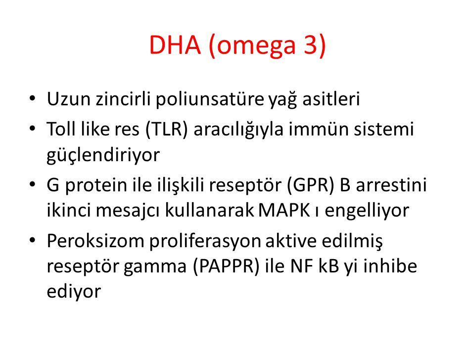 DHA (omega 3) Uzun zincirli poliunsatüre yağ asitleri Toll like res (TLR) aracılığıyla immün sistemi güçlendiriyor G protein ile ilişkili reseptör (GPR) B arrestini ikinci mesajcı kullanarak MAPK ı engelliyor Peroksizom proliferasyon aktive edilmiş reseptör gamma (PAPPR) ile NF kB yi inhibe ediyor