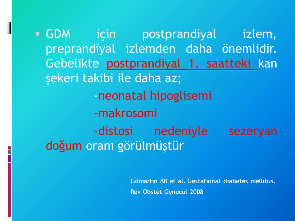  GDM için postprandiyal izlem, preprandiyal izlemden daha önemlidir. Gebelikte postprandiyal 1. saatteki kan şekeri takibi ile daha az; -neonatal hip