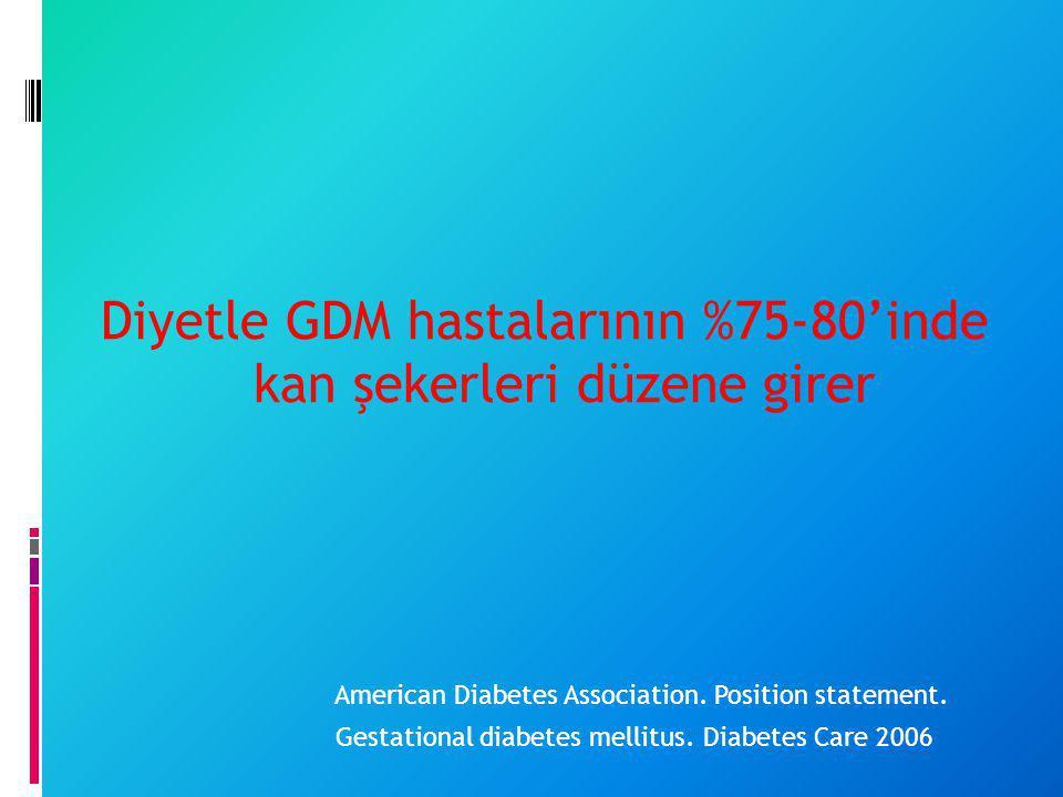 Diyetle GDM hastalarının %75-80'inde kan şekerleri düzene girer American Diabetes Association. Position statement. Gestational diabetes mellitus. Diab