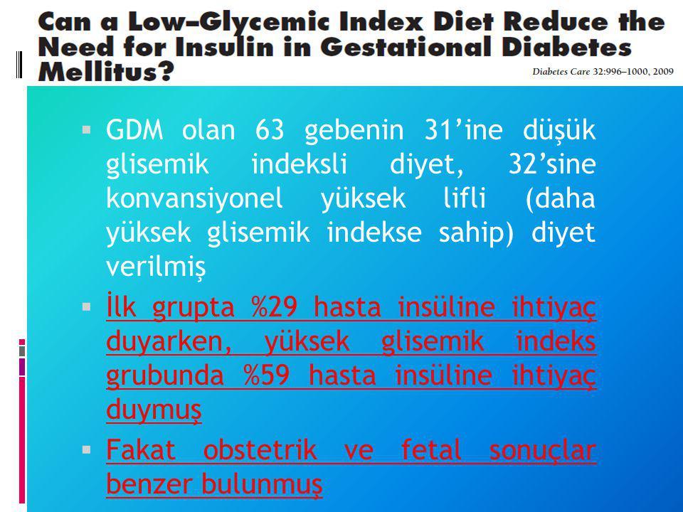  GDM olan 63 gebenin 31'ine düşük glisemik indeksli diyet, 32'sine konvansiyonel yüksek lifli (daha yüksek glisemik indekse sahip) diyet verilmiş  İ