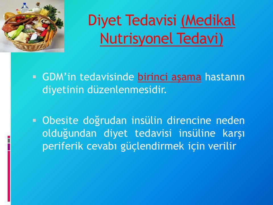 Diyet Tedavisi (Medikal Nutrisyonel Tedavi)  GDM'in tedavisinde birinci aşama hastanın diyetinin düzenlenmesidir.  Obesite doğrudan insülin direncin
