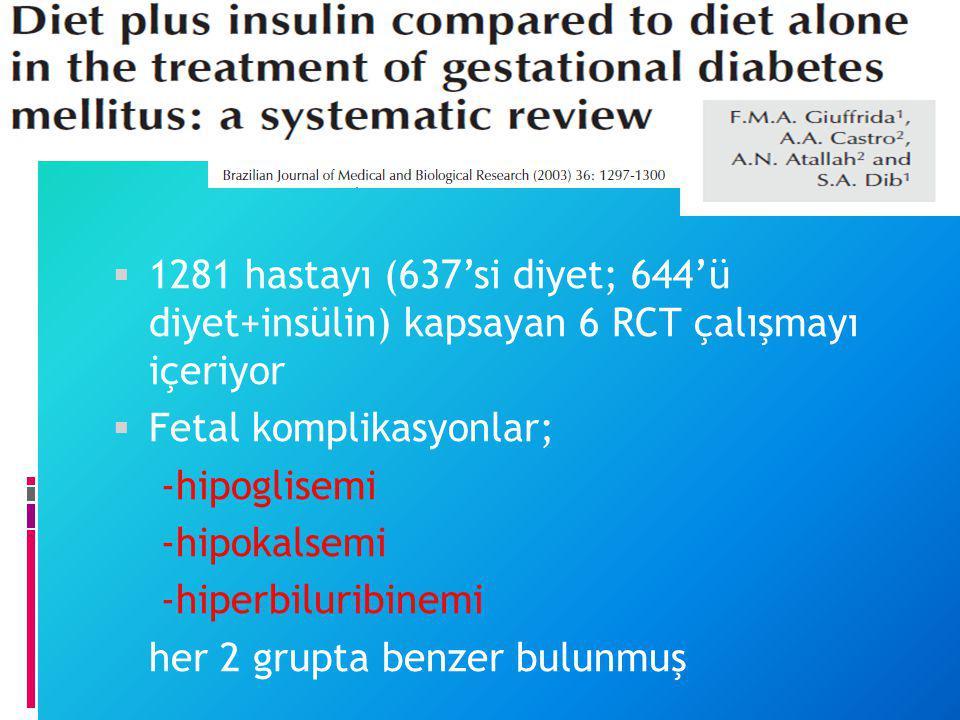  1281 hastayı (637'si diyet; 644'ü diyet+insülin) kapsayan 6 RCT çalışmayı içeriyor  Fetal komplikasyonlar; -hipoglisemi -hipokalsemi -hiperbiluribi