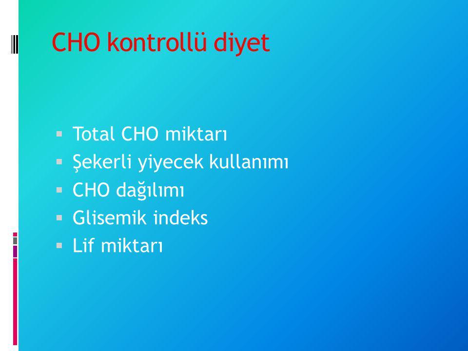 CHO kontrollü diyet  Total CHO miktarı  Şekerli yiyecek kullanımı  CHO dağılımı  Glisemik indeks  Lif miktarı