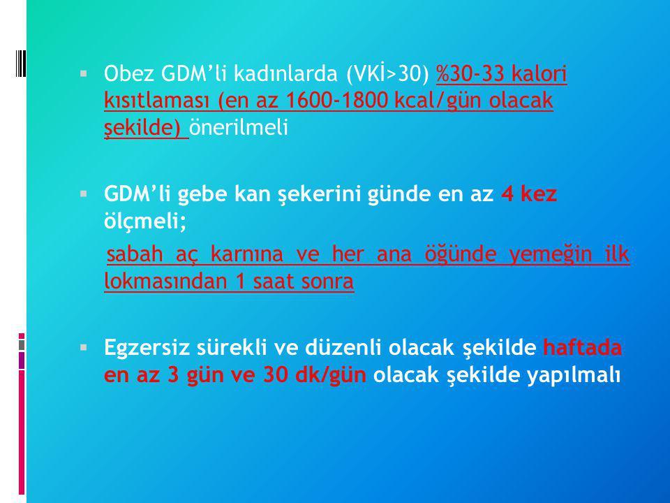  Obez GDM'li kadınlarda (VKİ>30) %30-33 kalori kısıtlaması (en az 1600-1800 kcal/gün olacak şekilde) önerilmeli  GDM'li gebe kan şekerini günde en a
