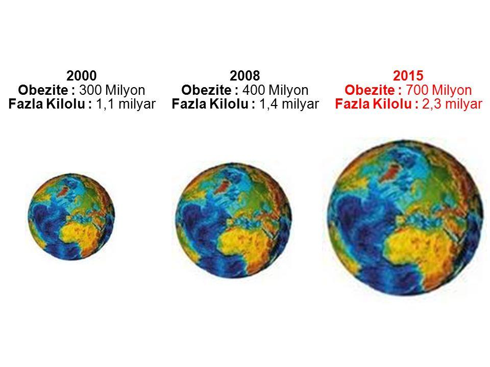 2000 Obezite : 300 Milyon Fazla Kilolu : 1,1 milyar 2008 Obezite : 400 Milyon Fazla Kilolu : 1,4 milyar 2015 Obezite : 700 Milyon Fazla Kilolu : 2,3 m