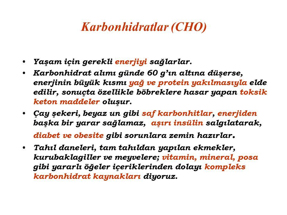 Karbonhidratlar (CHO) Yaşam için gerekli enerjiyi sağlarlar. Karbonhidrat alımı günde 60 g'ın altına düşerse, enerjinin büyük kısmı yağ ve protein yak