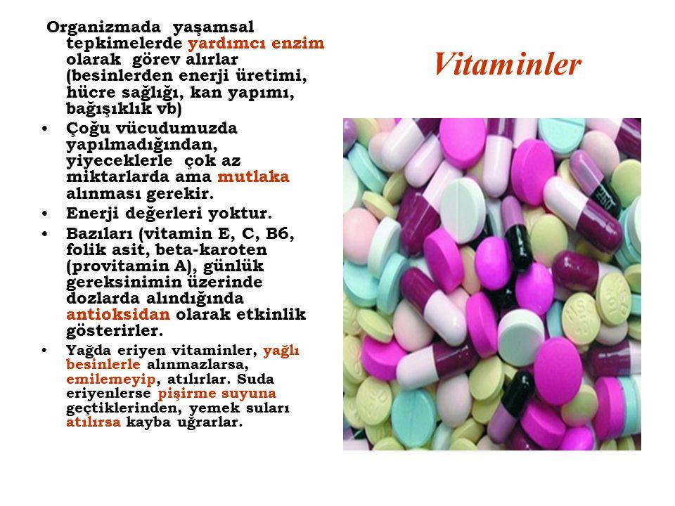 Vitaminler Organizmada yaşamsal tepkimelerde yardımcı enzim olarak görev alırlar (besinlerden enerji üretimi, hücre sağlığı, kan yapımı, bağışıklık vb