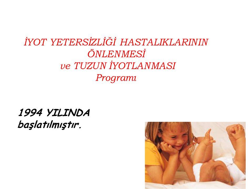 İYOT YETERSİZLİĞİ HASTALIKLARININ ÖNLENMESİ ve TUZUN İYOTLANMASI Programı 1994 YILINDA başlatılmıştır.