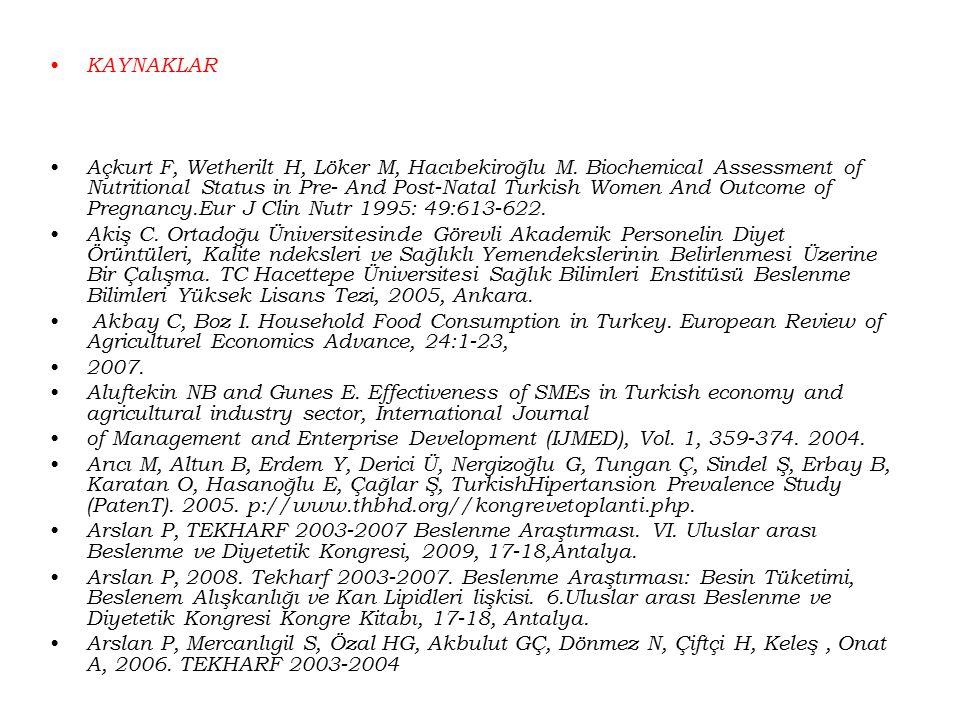 KAYNAKLAR Açkurt F, Wetherilt H, Löker M, Hacıbekiroğlu M. Biochemical Assessment of Nutritional Status in Pre- And Post-Natal Turkish Women And Outco