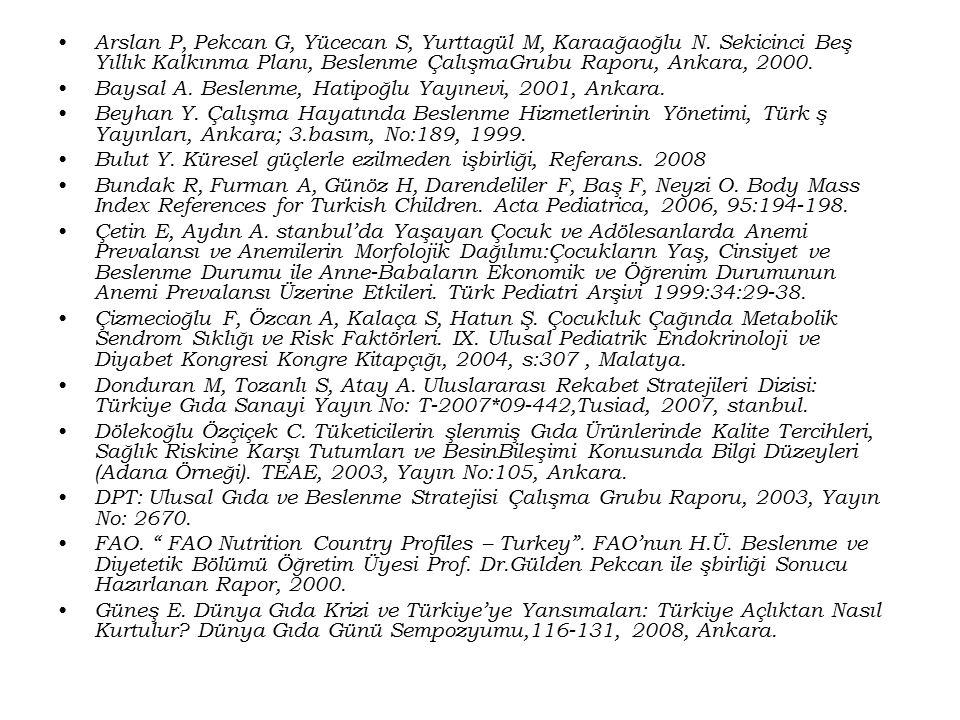 Arslan P, Pekcan G, Yücecan S, Yurttagül M, Karaağaoğlu N. Sekicinci Beş Yıllık Kalkınma Planı, Beslenme ÇalışmaGrubu Raporu, Ankara, 2000. Baysal A.