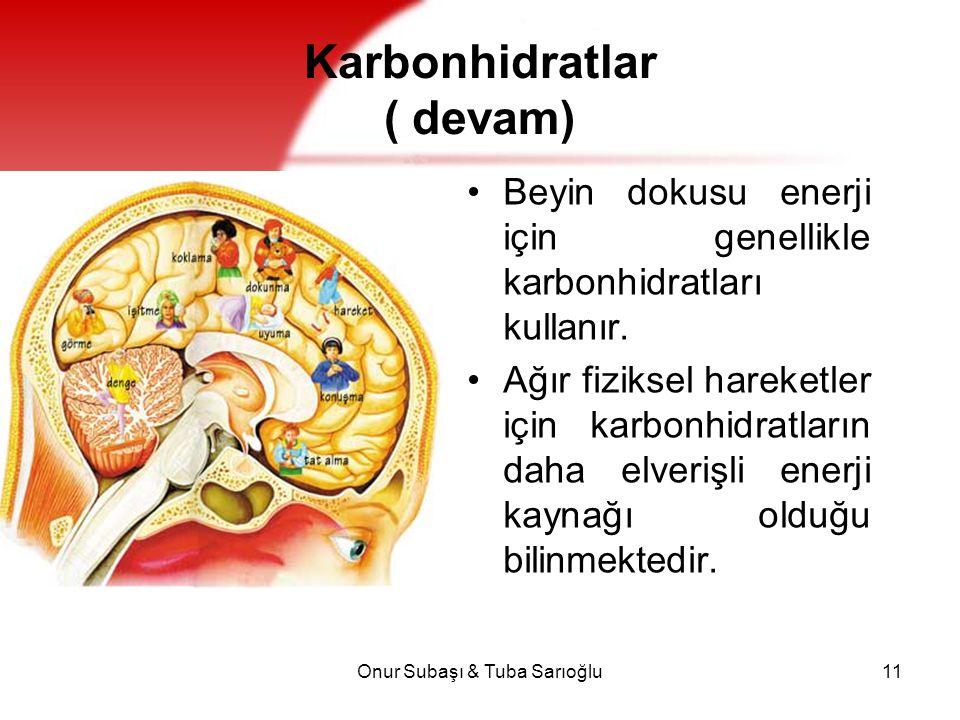 Onur Subaşı & Tuba Sarıoğlu11 Karbonhidratlar ( devam) Beyin dokusu enerji için genellikle karbonhidratları kullanır. Ağır fiziksel hareketler için ka