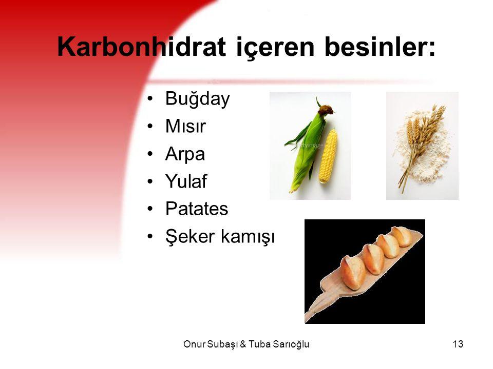 Onur Subaşı & Tuba Sarıoğlu13 Karbonhidrat içeren besinler: Buğday Mısır Arpa Yulaf Patates Şeker kamışı