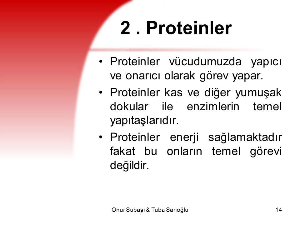 Onur Subaşı & Tuba Sarıoğlu14 2. Proteinler Proteinler vücudumuzda yapıcı ve onarıcı olarak görev yapar. Proteinler kas ve diğer yumuşak dokular ile e