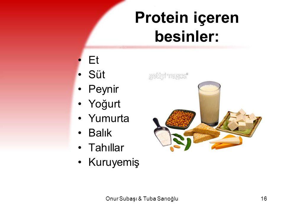 Onur Subaşı & Tuba Sarıoğlu16 Protein içeren besinler: Et Süt Peynir Yoğurt Yumurta Balık Tahıllar Kuruyemiş