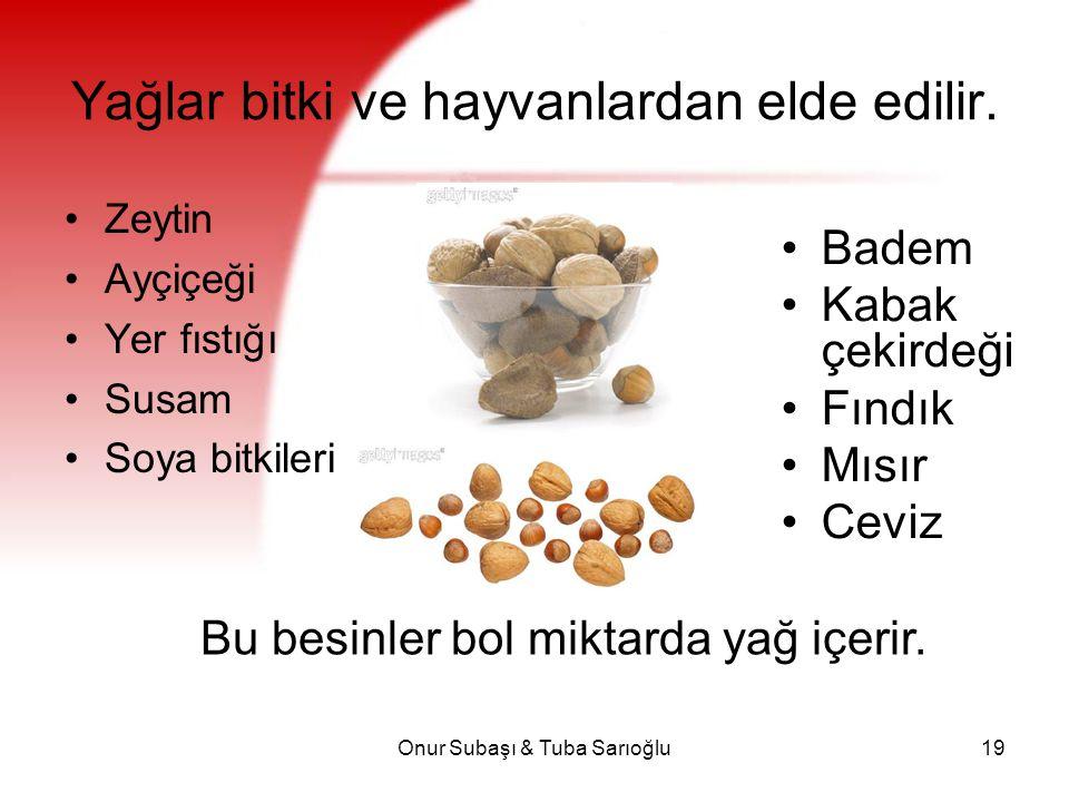 Onur Subaşı & Tuba Sarıoğlu19 Yağlar bitki ve hayvanlardan elde edilir. Zeytin Ayçiçeği Yer fıstığı Susam Soya bitkileri Badem Kabak çekirdeği Fındık