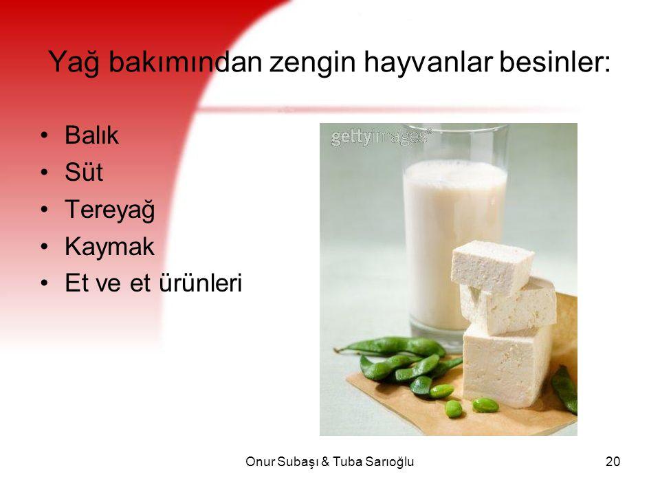 Onur Subaşı & Tuba Sarıoğlu20 Yağ bakımından zengin hayvanlar besinler: Balık Süt Tereyağ Kaymak Et ve et ürünleri