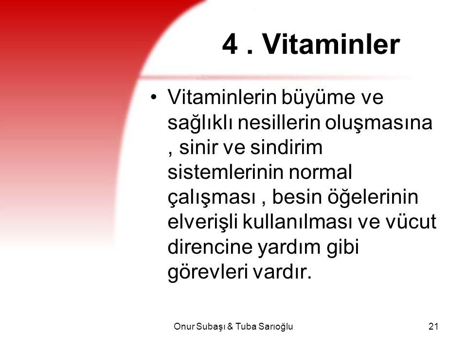 Onur Subaşı & Tuba Sarıoğlu21 4. Vitaminler Vitaminlerin büyüme ve sağlıklı nesillerin oluşmasına, sinir ve sindirim sistemlerinin normal çalışması, b
